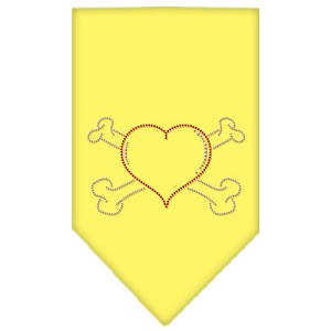 Heart Crossbone Rhinestone Bandana Yellow Large
