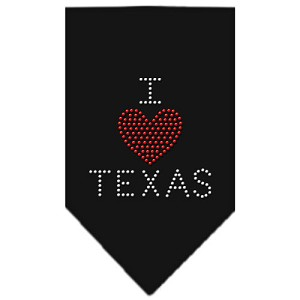 I Heart Texas Rhinestone Bandana Black Large