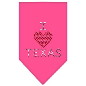 I Heart Texas Rhinestone Bandana Bright Pink Large