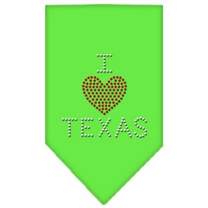 I Heart Texas Rhinestone Bandana Lime Green Large