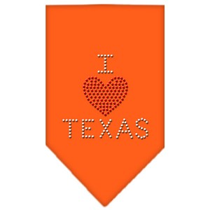 I Heart Texas Rhinestone Bandana Orange Small