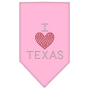 I Heart Texas Rhinestone Bandana Light Pink Large