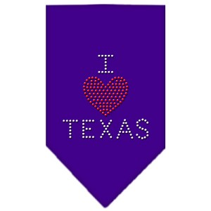 I Heart Texas Rhinestone Bandana Purple Large
