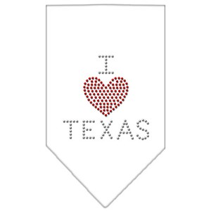 I Heart Texas Rhinestone Bandana White Large