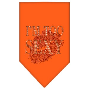 I'm Too Sexy Rhinestone Bandana Orange Small