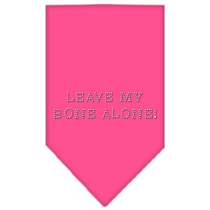 Leave My Bone Alone Rhinestone Bandana Bright Pink Small