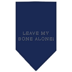 Leave My Bone Alone Rhinestone Bandana Navy Blue large