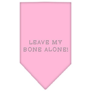 Leave My Bone Alone Rhinestone Bandana Light Pink Large
