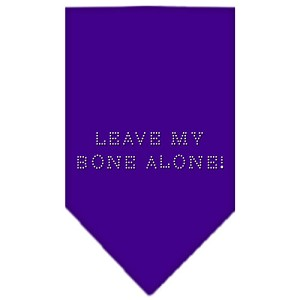 Leave My Bone Alone Rhinestone Bandana Purple Large