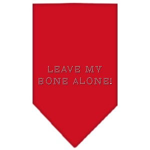Leave My Bone Alone Rhinestone Bandana Red Large