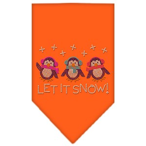 Let It Snow Penguins Rhinestone Bandana Orange Small