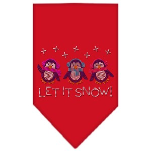 Let It Snow Penguins Rhinestone Bandana Red Small