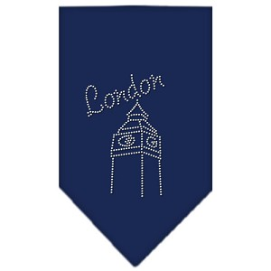 London Rhinestone Bandana Navy Blue Small