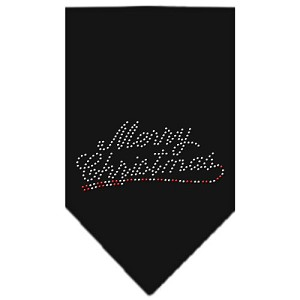 Merry Christmas Rhinestone Bandana Black Large