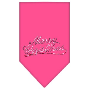 Merry Christmas Rhinestone Bandana Bright Pink Small