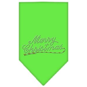 Merry Christmas Rhinestone Bandana Lime Green Small