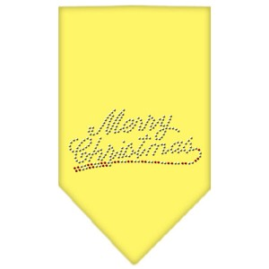 Merry Christmas Rhinestone Bandana Yellow Small