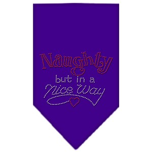 Naughty but in a Nice Way Rhinestone Bandana Purple Large