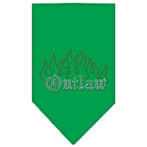 Outlaw Rhinestone Bandana Emerald Green Small