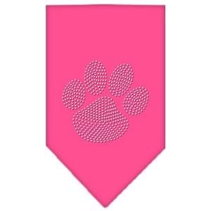 Paw Clear Rhinestone Bandana Bright Pink Small