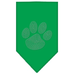 Paw Clear Rhinestone Bandana Emerald Green Large