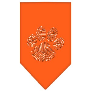 Paw Clear Rhinestone Bandana Orange Small