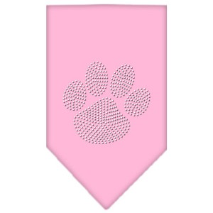 Paw Clear Rhinestone Bandana Light Pink Large
