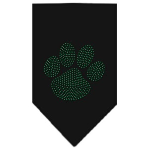 Paw Green Rhinestone Bandana Black Small