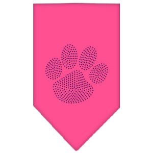 Paw Purple Rhinestone Bandana Bright Pink Large