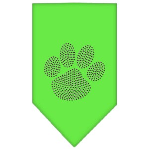Paw Purple Rhinestone Bandana Lime Green Large