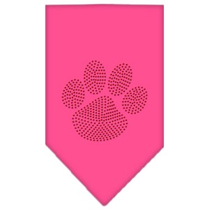 Paw Red Rhinestone Bandana Bright Pink Large