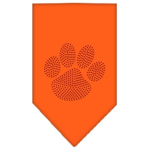 Paw Red Rhinestone Bandana Orange Small