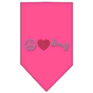 Peace Love Bone Rhinestone Bandana Bright Pink Small