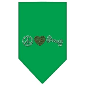 Peace Love Bone Rhinestone Bandana Emerald Green Large