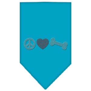 Peace Love Bone Rhinestone Bandana Turquoise Small