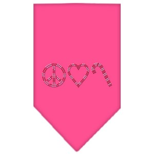Peace Love Candy Cane Rhinestone Bandana Bright Pink Small