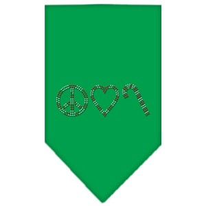 Peace Love Candy Cane Rhinestone Bandana Emerald Green Small