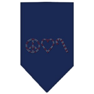 Peace Love Candy Cane Rhinestone Bandana Navy Blue Small