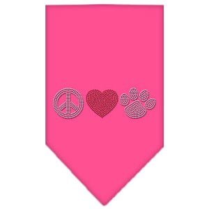 Peace Love Paw Rhinestone Bandana Bright Pink Large