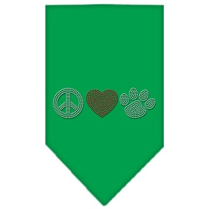 Peace Love Paw Rhinestone Bandana Emerald Green Small