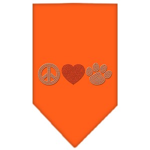 Peace Love Paw Rhinestone Bandana Orange Small