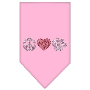 Peace Love Paw Rhinestone Bandana Light Pink Small