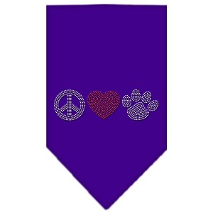 Peace Love Paw Rhinestone Bandana Purple Small