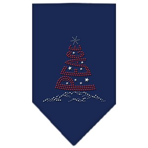 Peace Tree Rhinestone Bandana Navy Blue Small