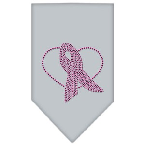 Pink Ribbon Rhinestone Bandana Grey Small