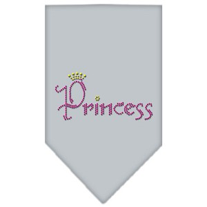 Princess Rhinestone Bandana Grey Large