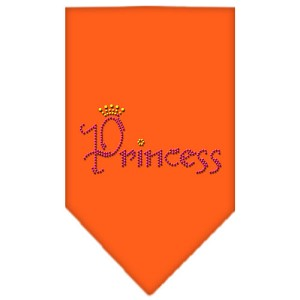 Princess Rhinestone Bandana Orange Small