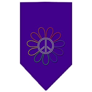 Rainbow Peace Flower Rhinestone Bandana Purple Small