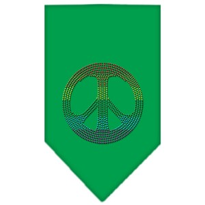 Rainbow Peace Sign Rhinestone Bandana Emerald Green Large