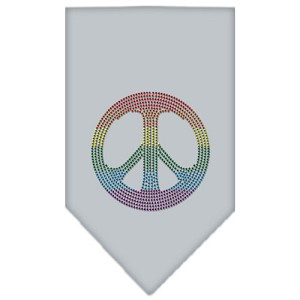 Rainbow Peace Sign Rhinestone Bandana Grey Large